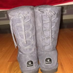 Grey bear paw boots.